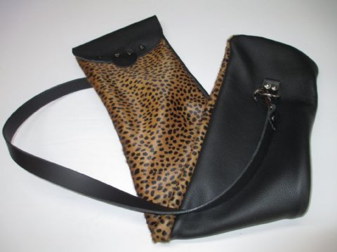 Leather Leopard Print Utility/Cane Bag, With detachable Single or Double Strap